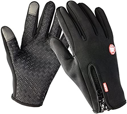 Cycling Gloves Waterproof Touchscreen in Winter Outdoor Bike Gloves Adjustable Size Black