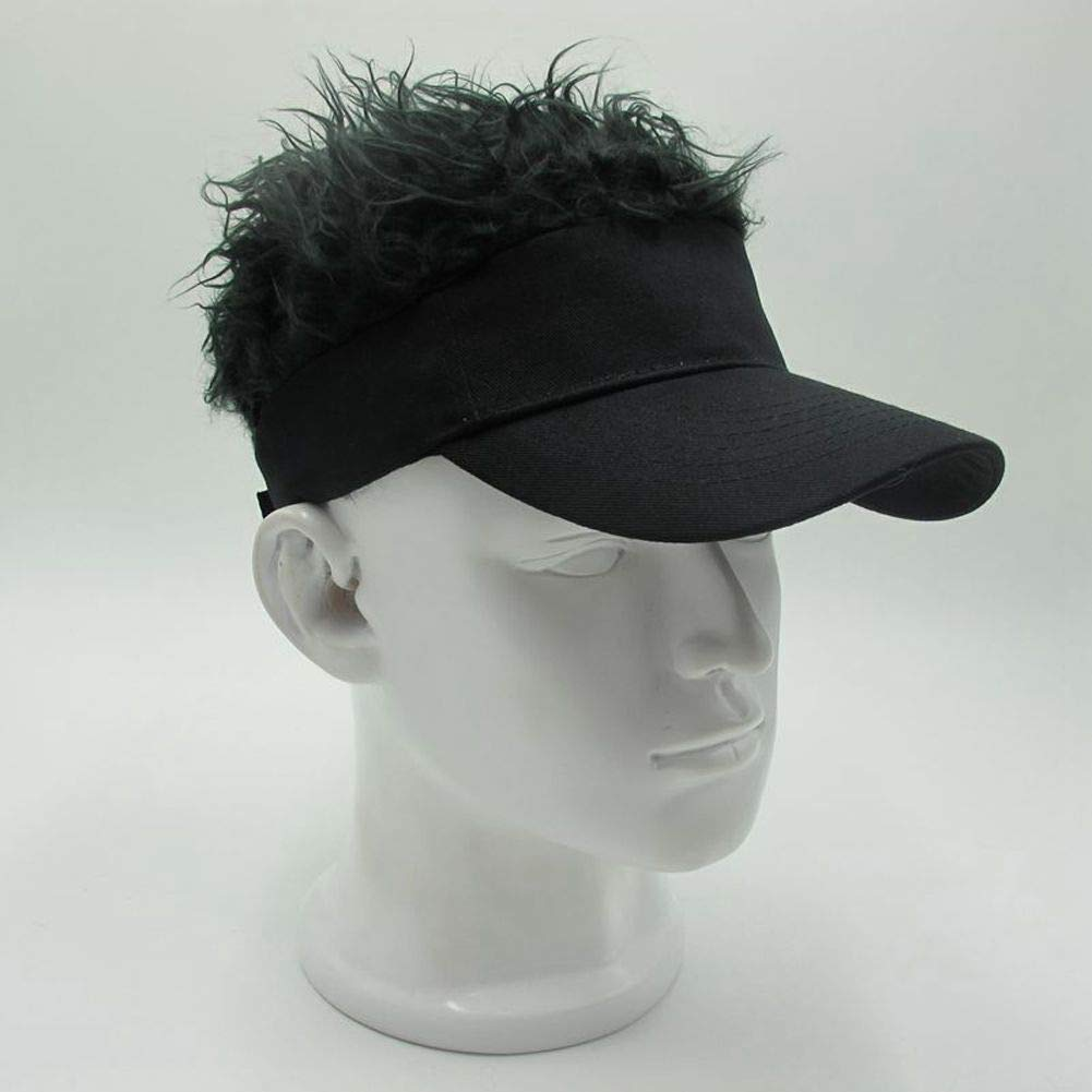 MILANMOOD Novelty Sun Cap Wig Peaked Adjustable Baseball Hat with Spiked Hairs,