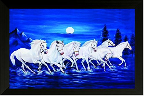 SAF Seven Running Horses Vastu Painting For Home And Office.Running Horses (Running 7 Horses)