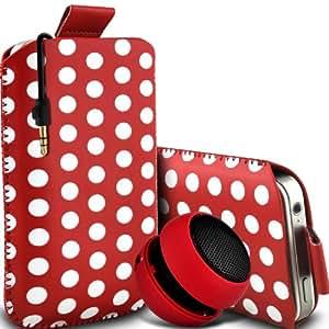 Wiko Luna Negra de Protección Premium Polka PU ficha de extracción Slip In Pouch Pocket Cordón piel cubierta de la caja de liberación rápida y Mini recargable portátil de 3,5 mm Cápsula Viajes Bass Speaker Jack rojo y blanco por Fone-Case