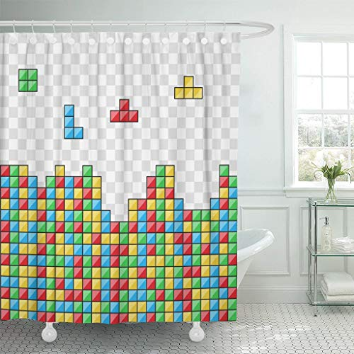 Abaysto Blue Tetris Color Blocks Video Game Red Abstract Black Bathroom Decor Shower Curtain Sets with Hooks Polyester Fabric Great -