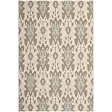 Safavieh Courtyard Collection CY7276-79A18 Beige Dark Beige and Aqua Weft Indoor/Outdoor Area Rug (4′ x 5'7″)