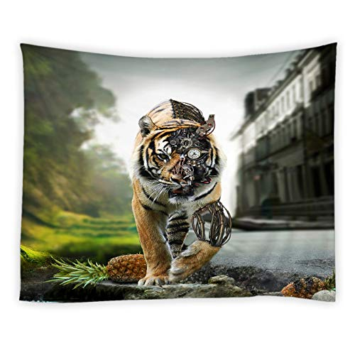 Landscape Wall Pocket - jingjiji Mechanical Tiger Tapestry Fantasy Wild Animals Retro City Landscape Pocket Watch Pineapple Wall Hanging Tapestries Decor Bedroom Living Room Dorm Polyester Fabric 70 x 70 Inch Brown