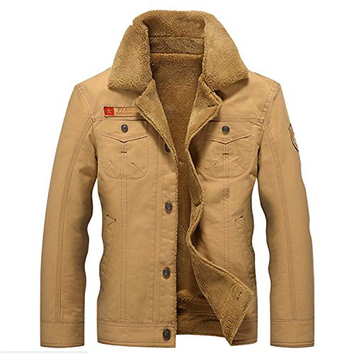 Jiushiaini Tactical Jacket Men Winter Thermal Cotton Jacket Coat Army Pilot Jackets Men's Air Force Parkas TD-QZQQ-006 Khaki XXXL by Jiushiaini novelty-outerwear-jackets