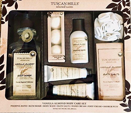 Tuscan Hills 7 piece Body Care Set, Vanilla Almond Foaming Bath, Bath Bomb, Body Wash, Bath Salts, Hand Cream, Foot Cream, and Shower Puff, TH102