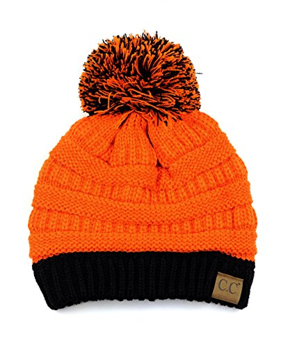 C.C Unisex College High School Team Color Two Tone Pom Pom Knit Beanie Hat (School Cap Color)