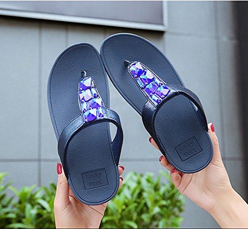 Fondo Sandalias Pellizcar Mujer Rhinestone Nvxie De Chancletas Antideslizante Playa Zapatos Pendiente Blue Grueso ZFqW4