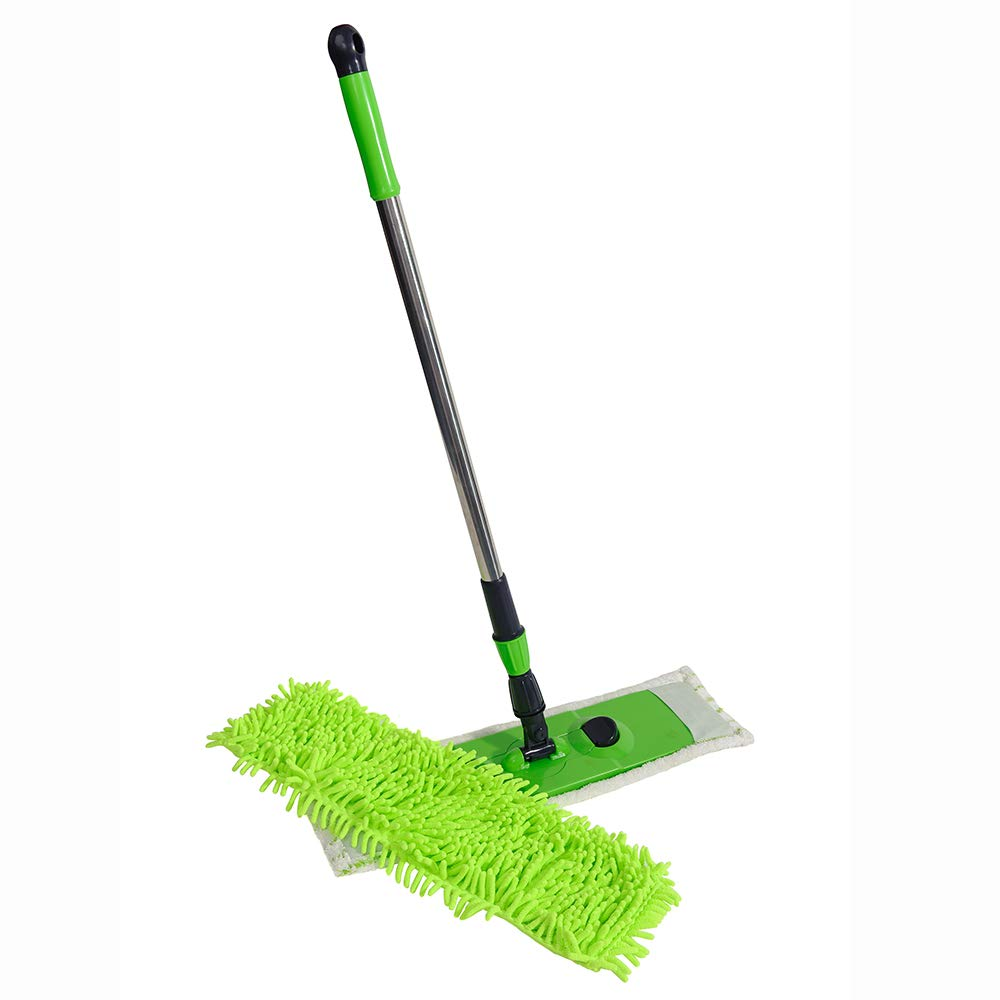 NFHOME 24'' Mircrofiber Hardwood Floor Mop, Wet or Dry Floor cleaning with Telescopic Handle Height Max 50'' and Chenille Refill, Flat Mop for Home Kitchen Laminate Wood Ceramic Tiles Floor Cleaning