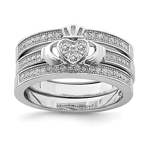 - 925 Sterling Silver Trio Set Band Rings Ring Claddagh Celtic Stackable Textured Fine Jewelry Gifts For Women For Her