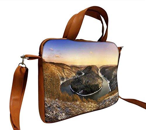 Snoogg Zig Zag Lake Designer, 38,1cm Zoll auf 39,4cm Zoll zu 39,6cm Zoll Kunstleder Laptop Notebook Schuber Sleeve, der Fall mit und Schultergurt für MacBook Pro Acer Asus Dell HP Sony Toshiba