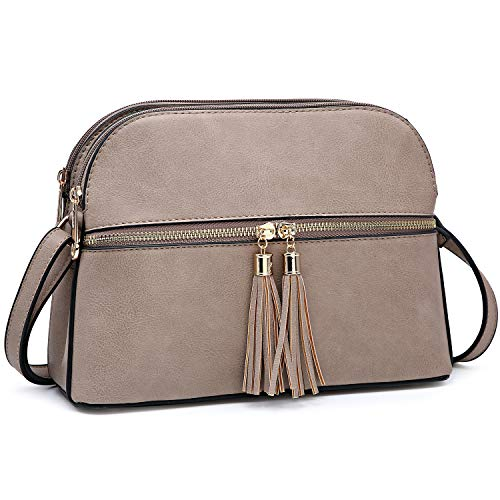 Dasein Women Tassel Zipper Pocket Crossbody Bag Shoulder Purse Fashion Travel Bag with Multi Pockets (Stone)