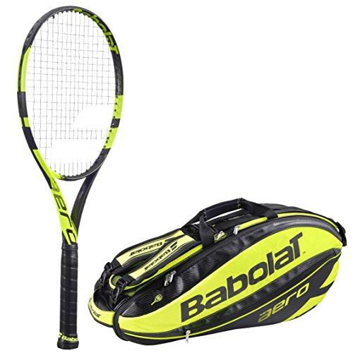 Babolat Racquet Holder (Babolat Pure Aero Adult Tennis Racquet (4.25) bundled with Pure Aero Racquet Holder x6 (Yellow/Black))