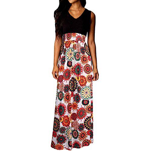 iLUGU Women Boho Maxi Summer Beach Long Cocktail Party Floral Dress -