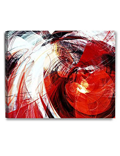 DECORARTS - Abstract Art(red and White Motion Composition), Giclee Prints Abstract Modern Canvas Wall Art for Wall Decor. 30x24 x1.5 (Art Red Canvas)
