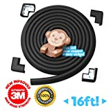 tiddö BLACK 16ft Baby Proofing Edge Guards + 4 PRE-TAPED Corner Cushions, Furniture, Table, Fireplace Corner Protector Rubber Cushion Foam – Eco Friendly Baby Shower Gift