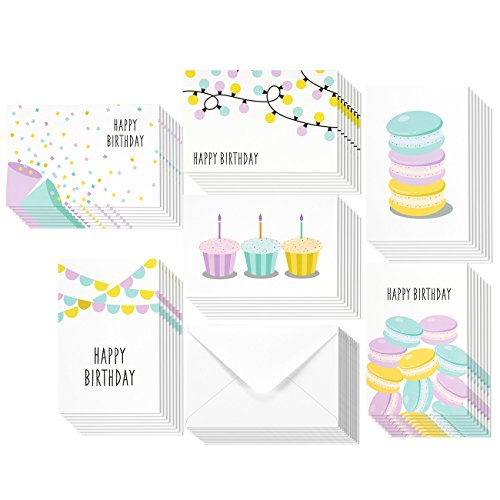 48 Pack Happy Birthday Greeting Cards - Bulk Box Set Assortment - 6 Dessert Macaroon Cupcake Pastel Designs - Envelopes Included 4 x 6 Inches