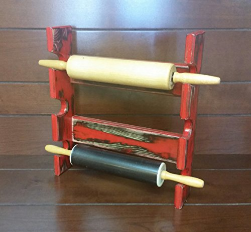 Red Rolling Pin Rack - Rolling Pin Rack with Three Slots - Multiple Rolling Pin Rack - Rolling Pin Holder - Rolling Pin Storage - Rolling Pin Rack for 3 (Rolling Pin Rack)