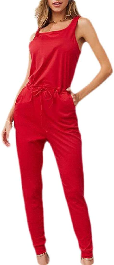 CRYYU Women Solid Color Loose Drawstring Sleeveless Casual Jumpsuit Romper