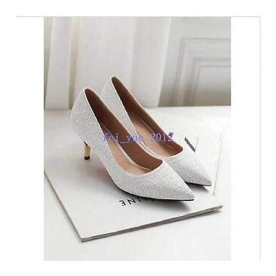 New Womens Rhinestones Mid Heel Pointy Toe Pumps Sequins Slip on Wedding Shoes