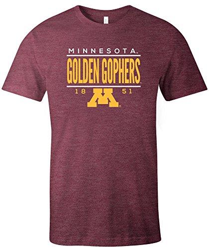 NCAA Minnesota Golden Gophers Tradition Short Sleeve Tri-Blend T-Shirt, Maroon,Medium