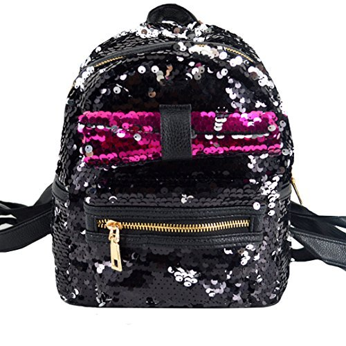 for Purse Sequin Black02 Girls Bow and Leather Backpack Women Bag Mini Shoulder black Cute Glitter Felice qHIEvE