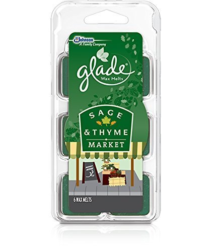 Glade Wax Melts Air Freshener - Sage & Thyme Market - 6 Count Wax Melts Per Package - Net Wt. 2.3 OZ (66 g) Per Package - Pack of 3