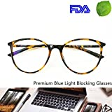 Blue Light Blocking Computer Glasses - Round Light Weight Comfortable Fit Anti Eye Strain Anti Glare UV 400