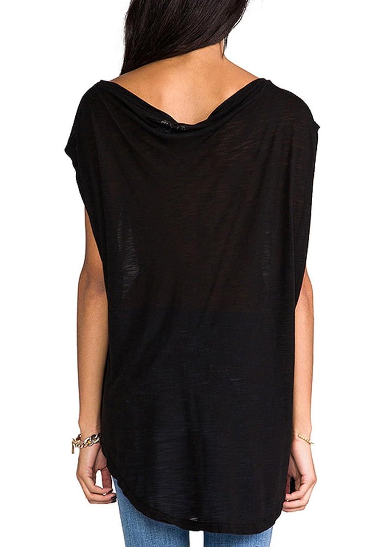 Summerwhisper Women's Casual Off Shoulder Party Tank Top T-Shirt Tops Black