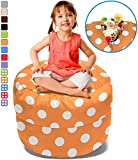 BeanBob Stuffed Animal Storage Bean Bag Chair in Orange w/ Polka Dots – 2.5ft Large Fill & Chill Space Saving Toy Organizer for Children – For Blankets, Teddy Bears, Clothes & Bedding