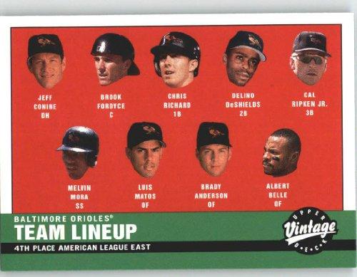 Lineup Baltimore Orioles - 2001 Upper Deck Vintage #80 2000 Orioles Lineup - Baltimore Orioles (Baltimore Orioles CL) (Baseball Cards)