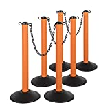 US Weight ChainBoss Indoor/Outdoor Orange Stanchion – Fillable Base – Six Pack