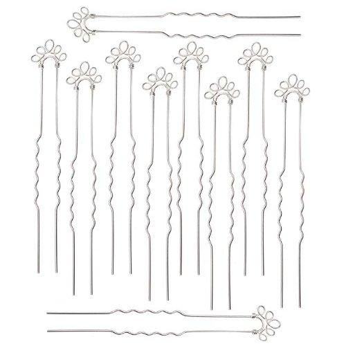 Silver Plated 5-Loop Hair Pins - Fun Craft Beading Project - Bridal - 4 Inches ()