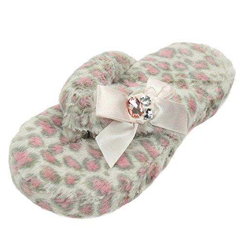 Home Slipper Women's Bejeweled Coral Fleece Plush Non-Skid Indoor House Sandal Flip (New Slipper Sandal Flip Flop)