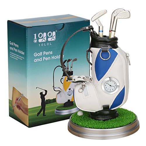 Mini desktop golf bag pen holder with golf pens clock 6-piece set of golf souvenir Tour souvenir novelty gift (blue and -