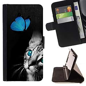 Jordan Colourful Shop -Butterfly Fly Cat Kitty Pet -- Leather Case Absorciš®n cubierta de la caja de alto impacto FOR Sony Xperia Z2 L50t L50W L50U ---
