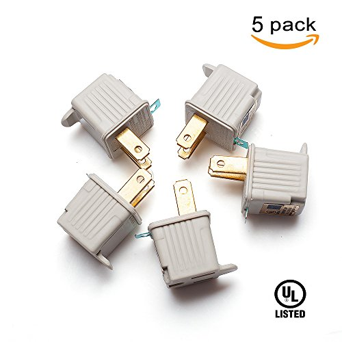 TENINYU Grounded Adapter 3-Prong to 2-Prong Outlet Converter (5 Pack) - 3 Pin to 2 Pin Plug Socket Adapter Extension for Electrical Cord, Household, Workshops, Industrial, - Pin Outlet