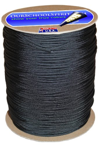 Our School Spirit 50' hank 100 ft hanks & 1000 ft spools of paracord 550 Type III Parachute Cord 7 Strand (Black, 50) (Dry Dock Hitch)