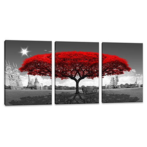 Canvas Prints Landscape Framed 3 Panels Red Tree Decorations Each Panel 12