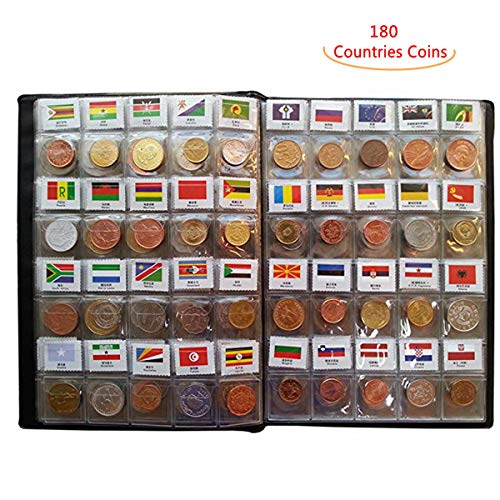 - Coin Collection Set Fine Coins Nations Collection Coins Starter Kit 100% Original Genuine with Leather Collection Album Country Flag and Name (180 Countries Coins)