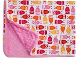 Baby Girl Blanket in Mod Owls on Pink Dimple Dot Minky - Great Travel Blanket