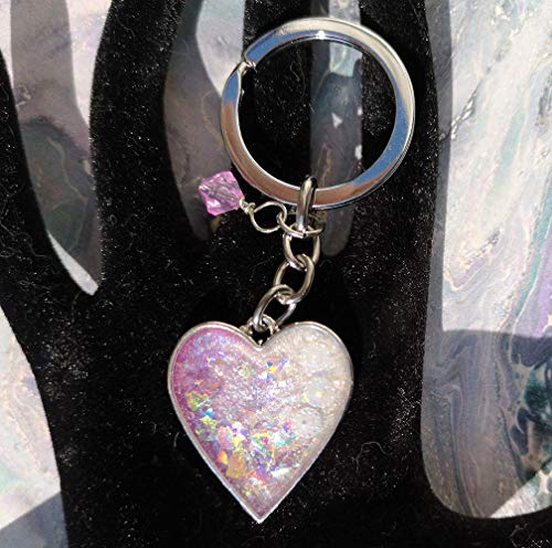 - Resin holographic pearly heart keyring