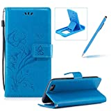 Strap Leather Case for iPhone 6S Plus,Portable Wallet Case for iPhone 6 Plus,Herzzer Bookstyle Pretty Stylish [Butterfly Flower Design] Stand Magnetic Smart Flip Case with Soft Inner