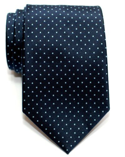 Retreez Pin Dots Woven Microfiber Men's Tie - Navy Blue with Light Blue Pin (Navy Blue Mens Tie)