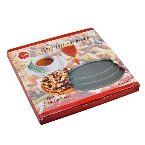 Bakeware Set, Yamix 3Pcs Set Carbon Steel Nonstick Kitchenware Baking Pan Round Pizza Pan Pizza Tray - Black