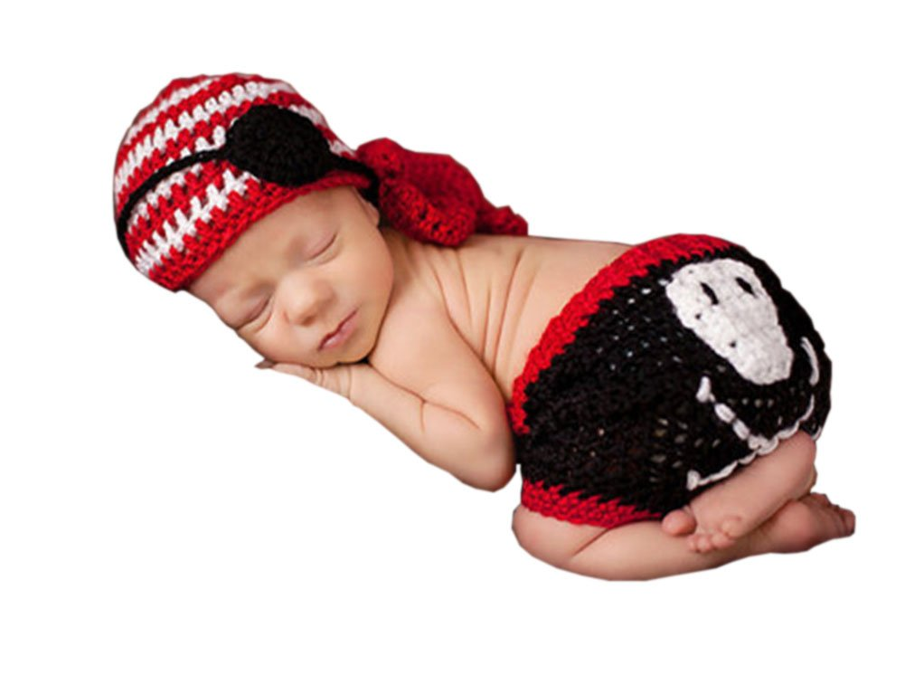 Pinbo® Newborn Baby Boys Photography Prop Crochet Pirate Blinder Hat Diaper by Pinbo