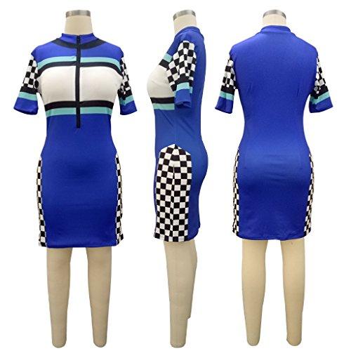 Front Bodycon Neck 3 Pencil Clubwear Sexy Dress Party Zipper Kafiloe Sleeve Casual Women Blue Short Midi Polo xtZqA81wY