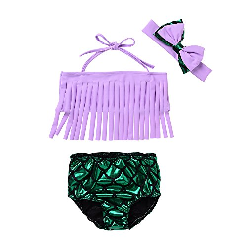 Price comparison product image Baby Girls 3 Pcs Swimwear Tassels Halter Top+Lovely Mermaid Bottom+Headband Swimsuit (90 (2-3Y),  Light Purple+Green)