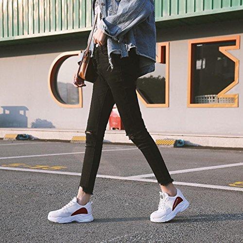 Beautyjourney Chaussures Talon Femme,Femmes Chaussures Chaussures Casual Semelles Chaussures De Sport Chaussures Confortables Chaussures Confort Femme Blanc