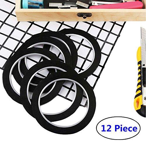 12 Pcs 1/8 inch Width Black Whiteboard Gridding Tape, HULISEN Grid Marking Tapes Self Adhesive Chart Tapes, Artist Pinstripe Tape