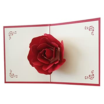 OSUNP Big Rose 3D Pop UP Greeting Cards Fantastic Flower Handmade Gift Card Origami Kirigami